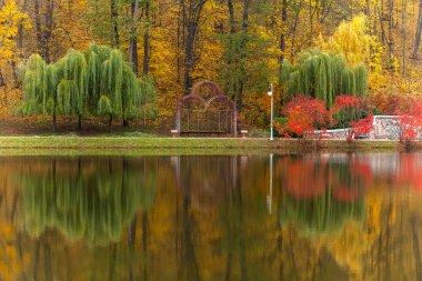 "Картина, постер, плакат, фотообои ""парк, осень, природа, панорама, пейзаж, сад, цветное дерево печать архитектура"", артикул 82684498"