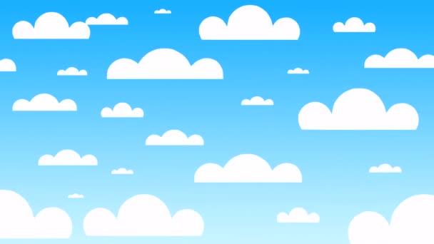 4K 3D animace jasně modré letní oblohy se zábavnými papírovými mraky.