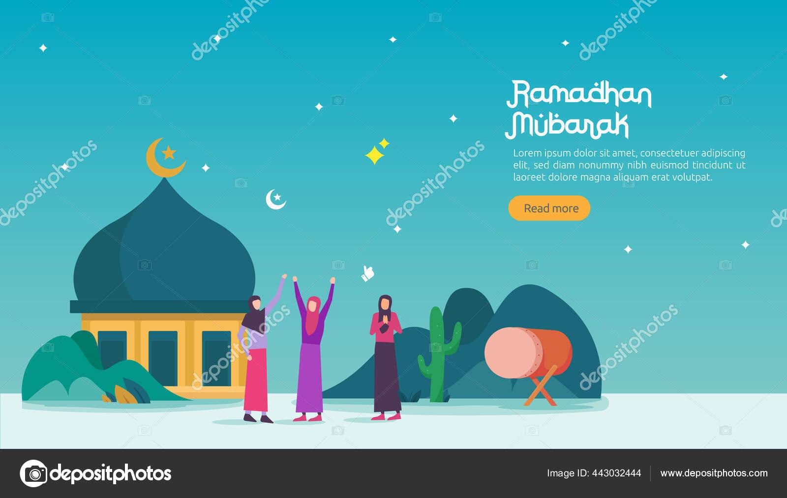 Happy Ramadan Mubarak Menyambut Konsep Dengan Orang Orang Karakter Untuk Stok Vektor C Surfink Studio Gmail Com 443032444