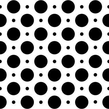 Seamless geometric pattern in polka dots on a white background.