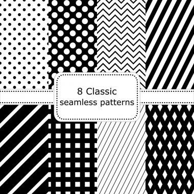 Set of 8 classic black - white seamless patterns
