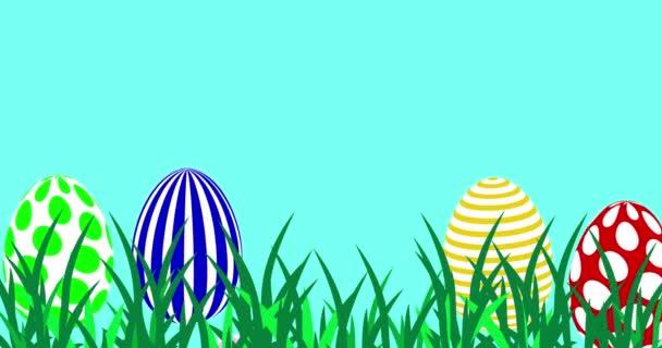 Frohe Osterbotschaft mit Eiern und Hasen. 4k-Animation