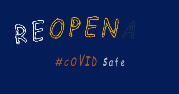 Animation Reopening and Covid Safe text. Environment business concept. 4K video animation graphics