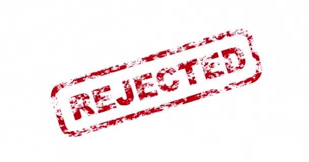 Přepínač certifikátu pečeti. Animace odmítnutých certifikovaných pečetí na bílém pozadí. Grafická animace pohybu 4K smyčky
