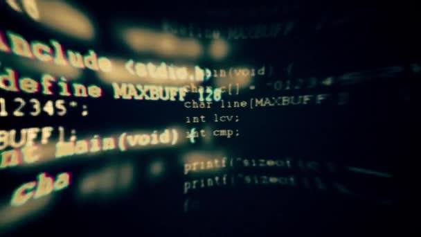 Programování kódu běží dolů obrazovku terminálu