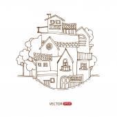 Ruční kresba domy