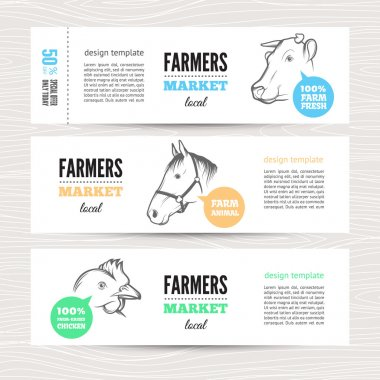 Set of horizontal banners with cow, sheep  and chicken. Perfect design for farm market advertising, farming industry and other types of bio product business. Modern business identity for bio products and agricultural industry. stock vector