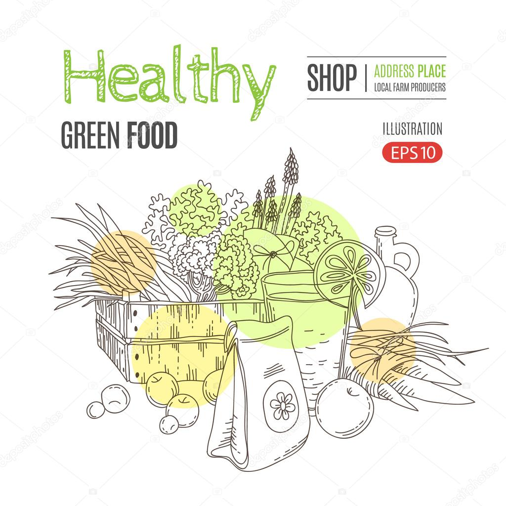 Healthy eating vector concept.