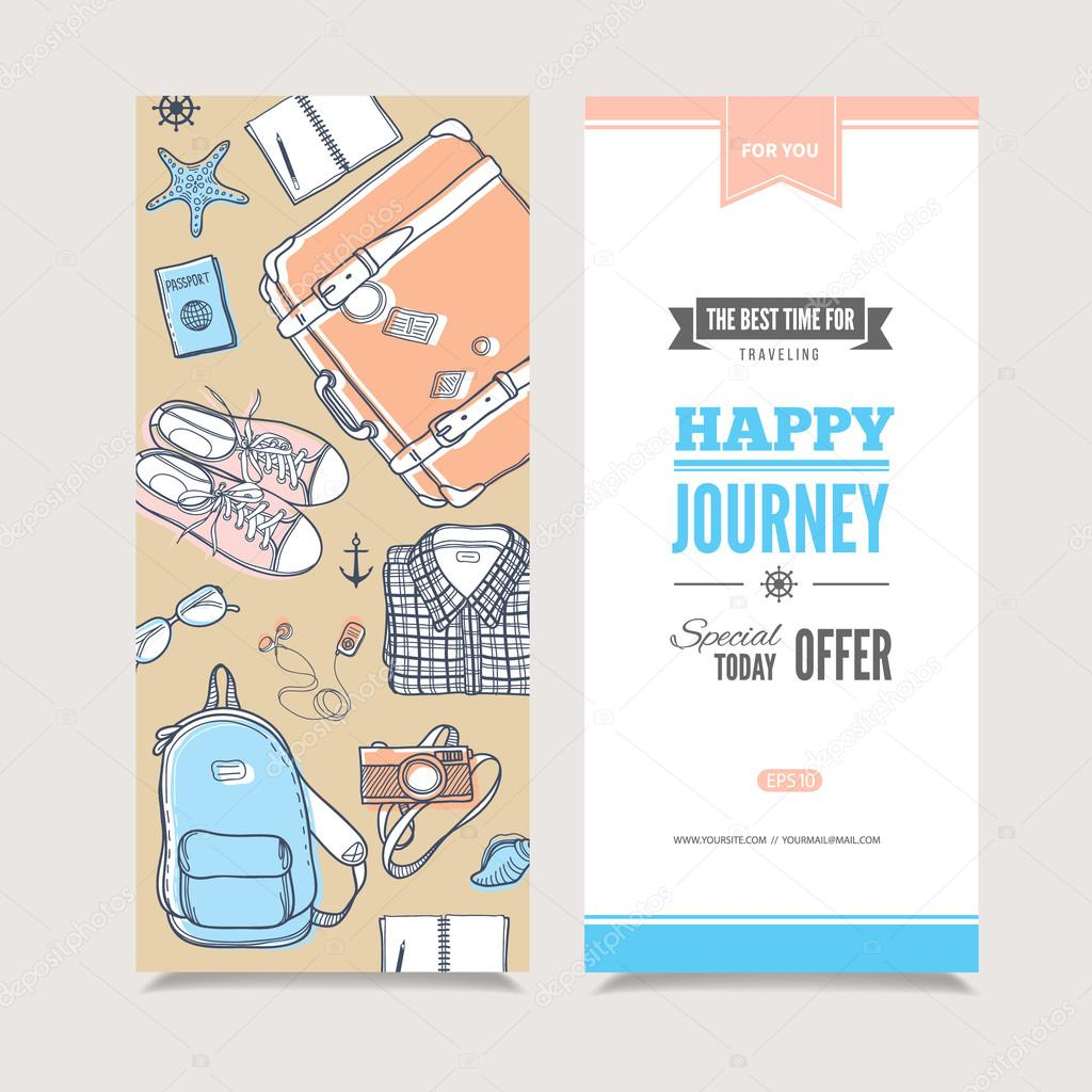 Travel vertical invitation stock vector svetagaintseva 87011248 vector template with suitcase backpacknotebook glasses sneakers player camera passport clothes and sea shells perfect illustration for invitation stopboris Choice Image