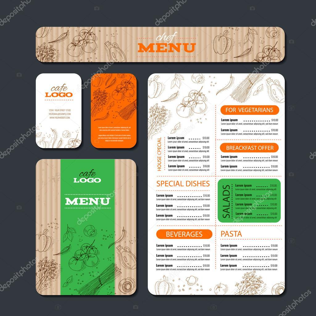Plantilla de identidad de cafetería o restaurante — Vector de ...