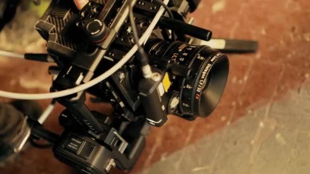 The work of the video studio. Professional equipment, cameras, light