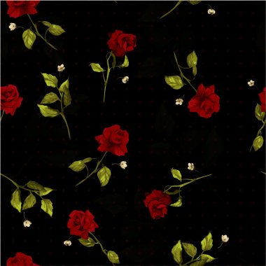 Vector seamless floral pattern with red roses on black backgroun