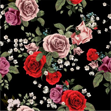 floral pattern with red and pink roses
