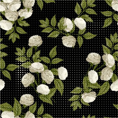 Floral pattern with white roses