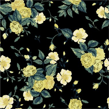 Floral pattern with yellow and white roses