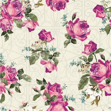 Ornament pattern with pink roses