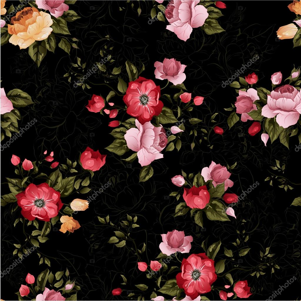 Seamless Floral Pattern With Roses Stock Vector C Ollallya 65833477