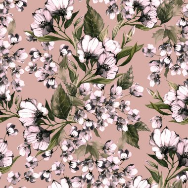 Floral seamless pattern with eustoma flowers