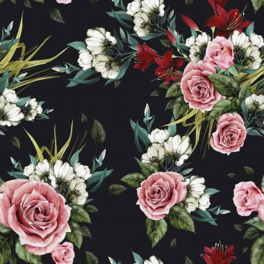 Seamless floral pattern with roses and lilies on black background, watercolor stock vector