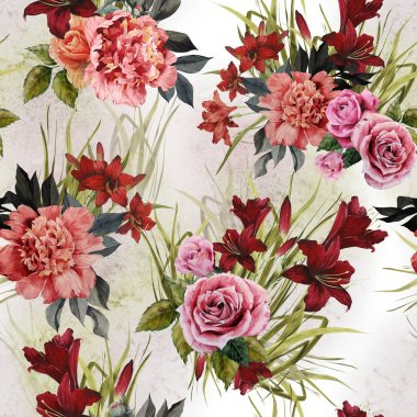 Roses, peonies and lilies floral pattern