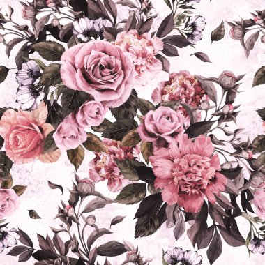 Watercolor roses and peonies floral pattern
