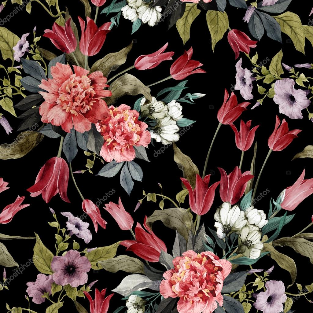 Floral pattern with tulips and peonies