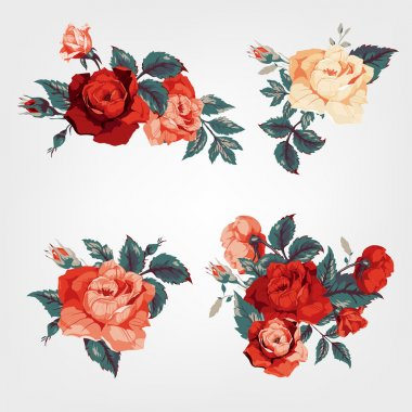 Set of bouquets of roses