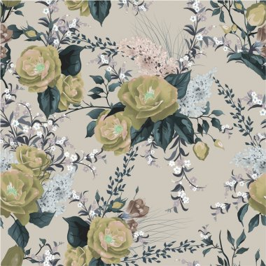 Floral pattern with roses and lilac