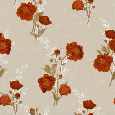 Floral pattern with red roses