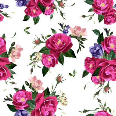 Floral pattern with roses and freesia