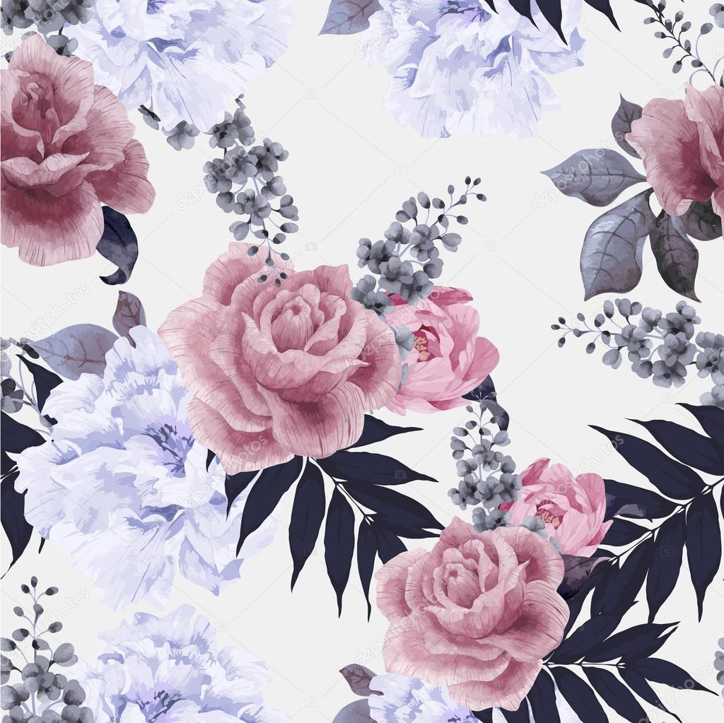 Floral pattern with roses and peonies