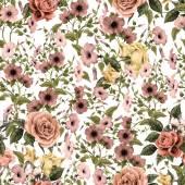 Akvarell convolvulus és a rózsa minta