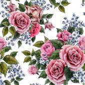 Akvarell roses virágos mintával
