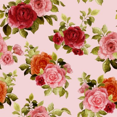 Watercolor pattern with red and pink roses