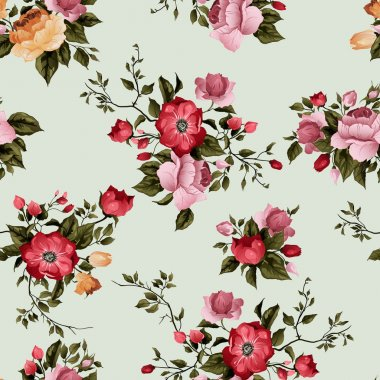 floral pattern with of red and pink roses