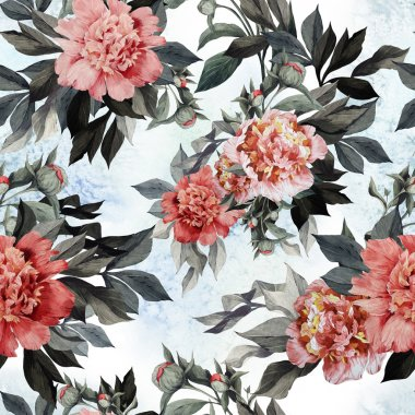 Seamless roses and peonies floral pattern