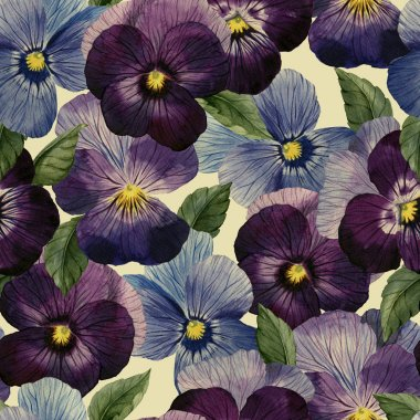 Watercolor pansy pattern