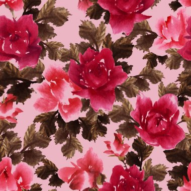 Watercolor pattern with roses