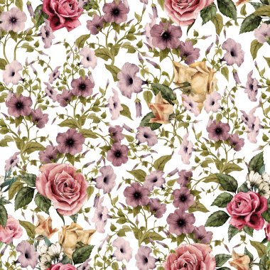 Watercolor convolvulus and roses pattern