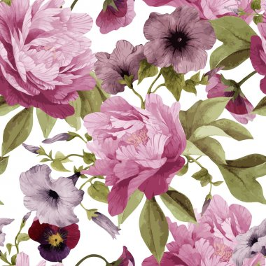 Pattern with pansy, convolvulus and peonies