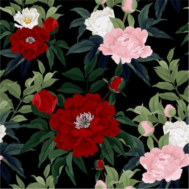 Floral pattern with peony