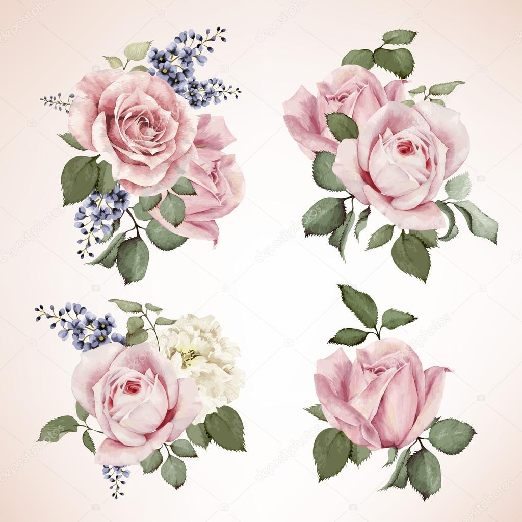 Set of bouquets of roses, watercolor, can be used as greeting ca