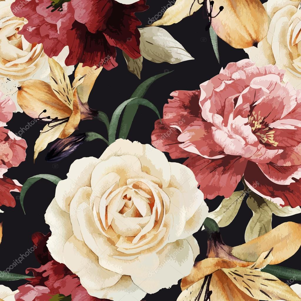 Seamless floral pattern with roses, watercolor. Vector illustrat
