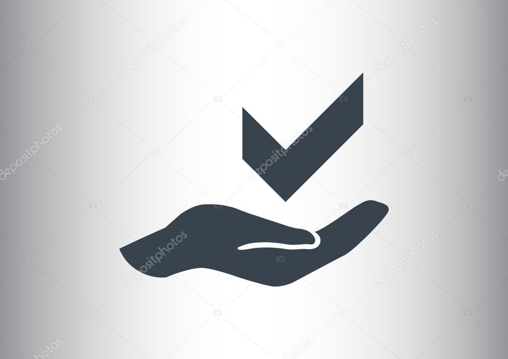 Símbolo De Tick En Icono De La Web De Mano Vector De Stock
