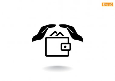 Wallet with hands web icon