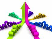 Az összefonódásban részt vevő világos 3d nyilak