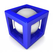 3d cube with sphere inside.