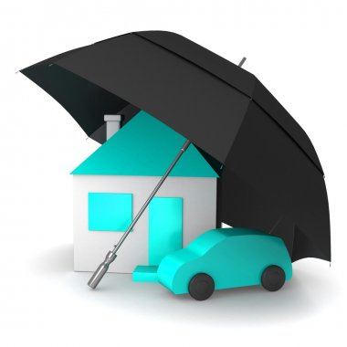 House and car under an umbrella