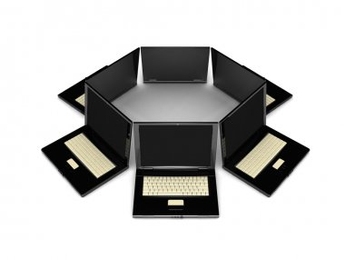 3d black laptops