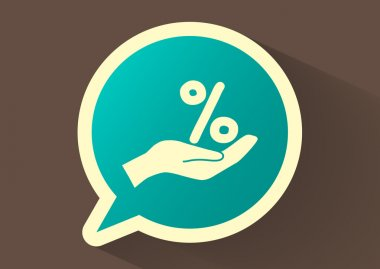 Percentage on hand web icon
